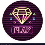 diamond play button neon video game wall